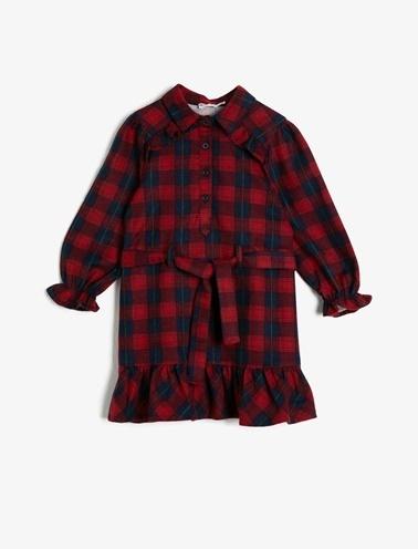 Koton Kids Kareli Elbise Kırmızı